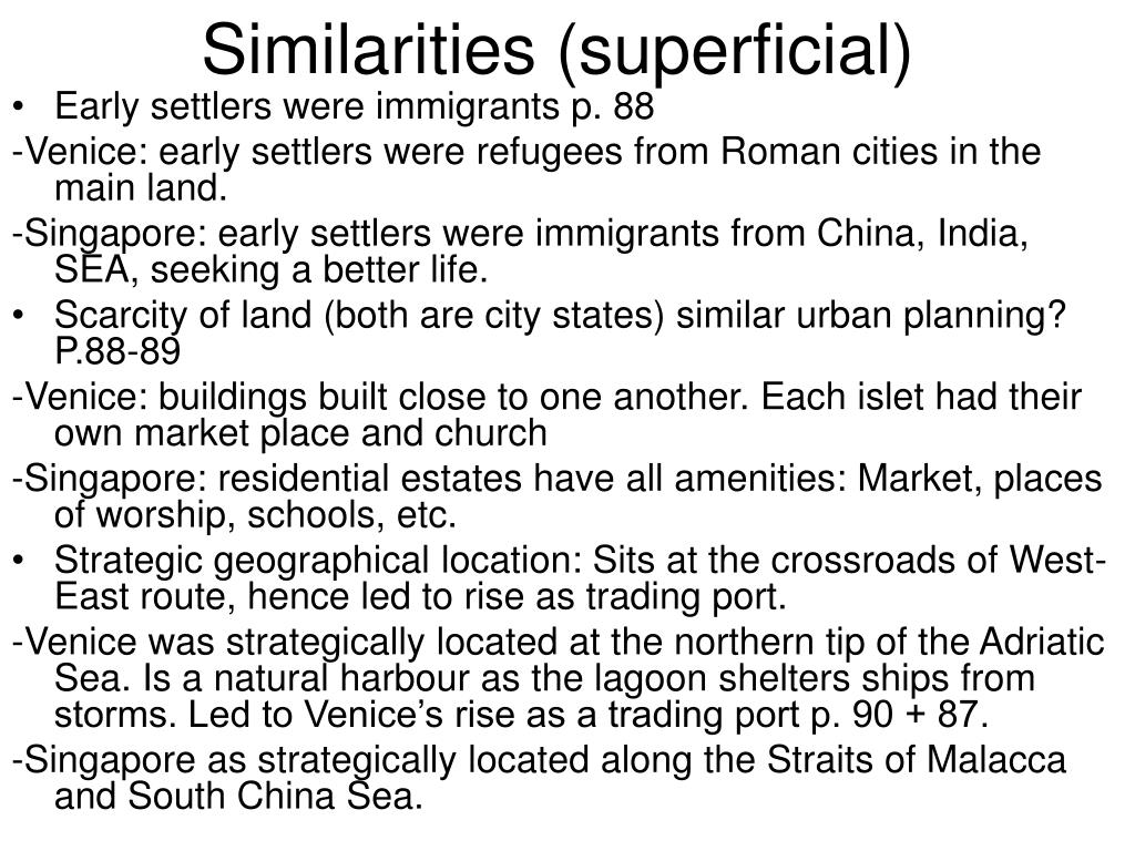 Similarities (superficial)