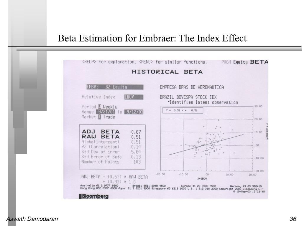 Beta Estimation for Embraer: The Index Effect