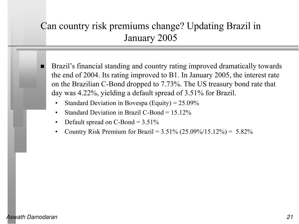 Can country risk premiums change? Updating Brazil in January 2005