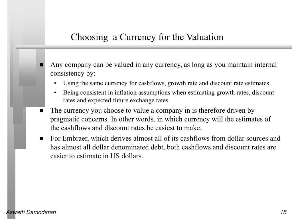 Choosing  a Currency for the Valuation
