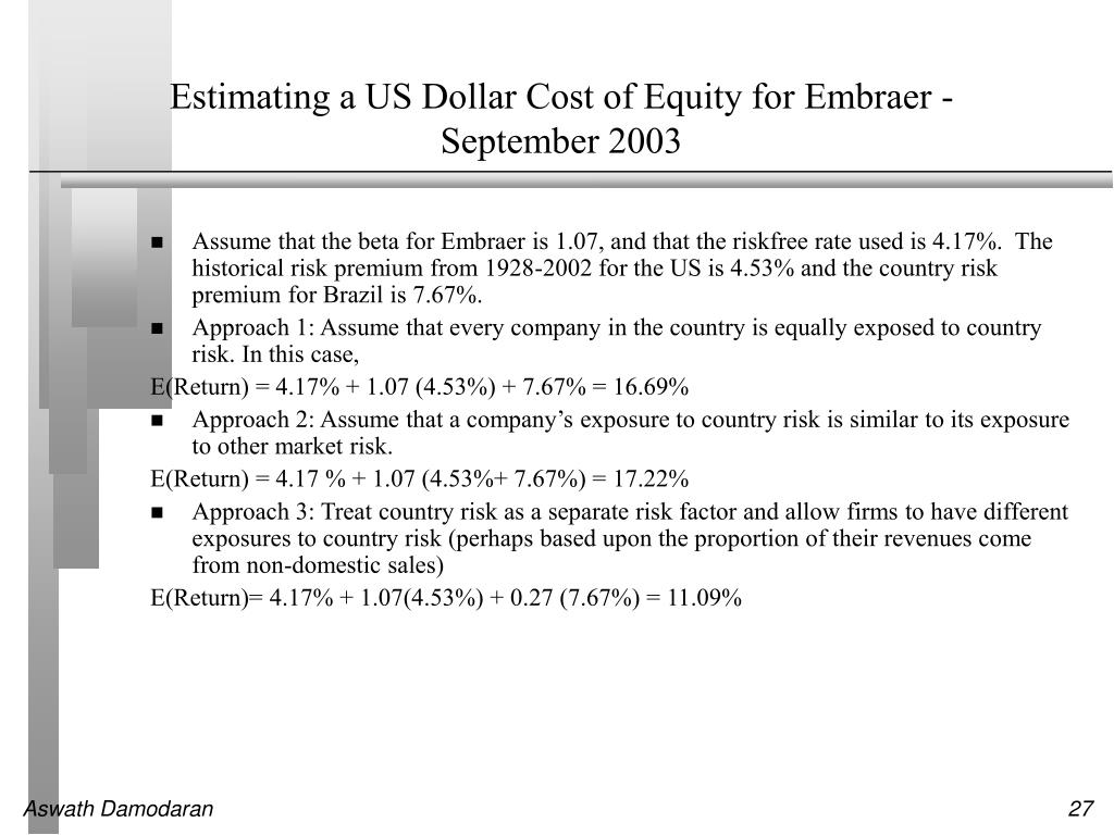 Estimating a US Dollar Cost of Equity for Embraer - September 2003