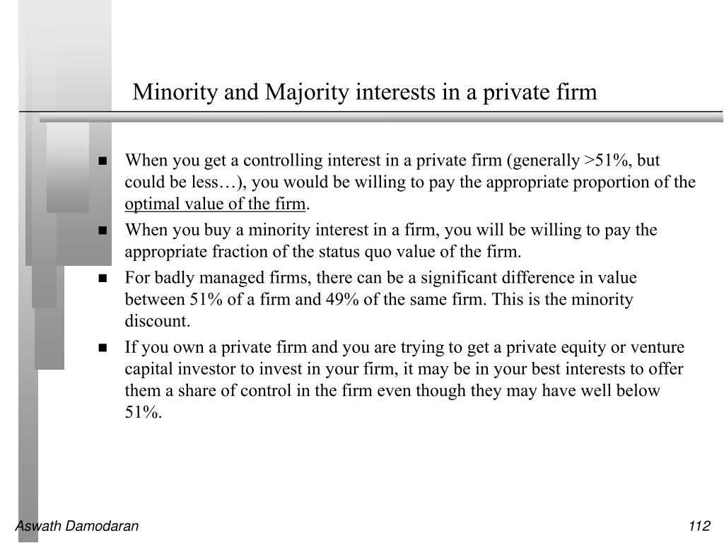 Minority and Majority interests in a private firm