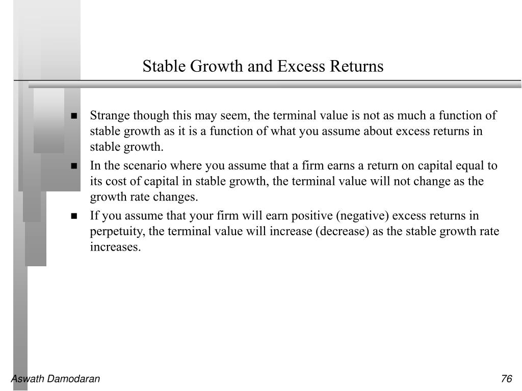 Stable Growth and Excess Returns