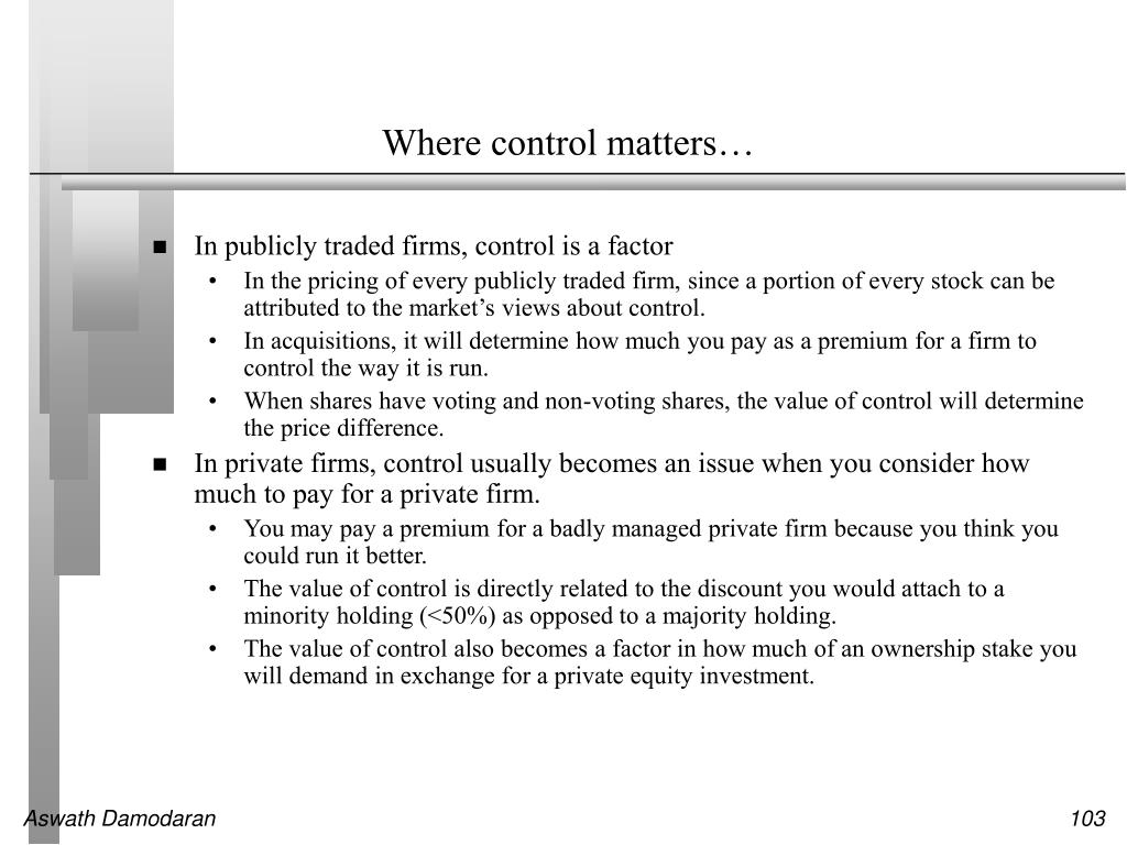 Where control matters…
