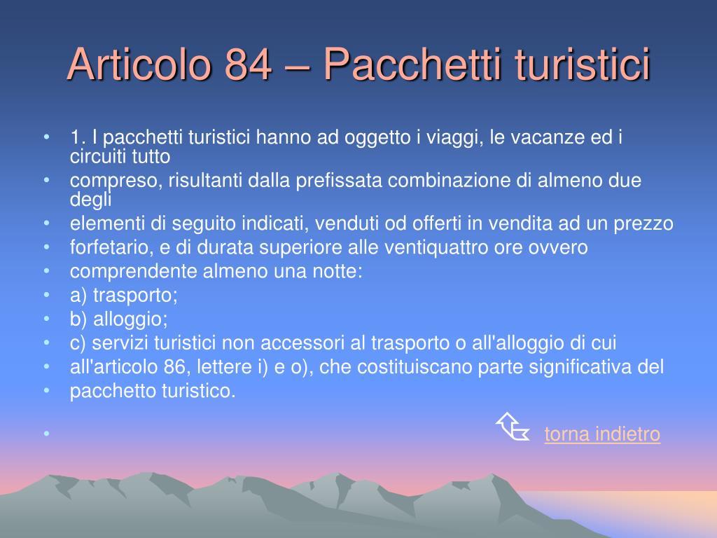 Articolo 84 – Pacchetti turistici