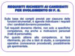requisiti richiesti ai candidati per svolgimento di f s