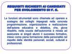 requisiti richiesti ai candidati per svolgimento di f s18