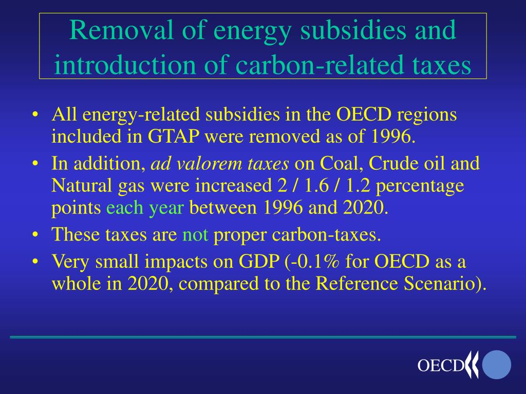 Removal of energy subsidies and introduction of carbon-related taxes