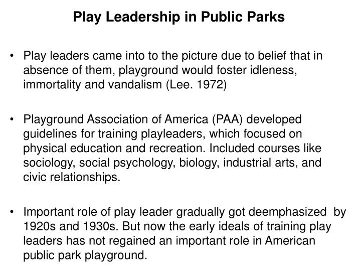 Play Leadership in Public Parks