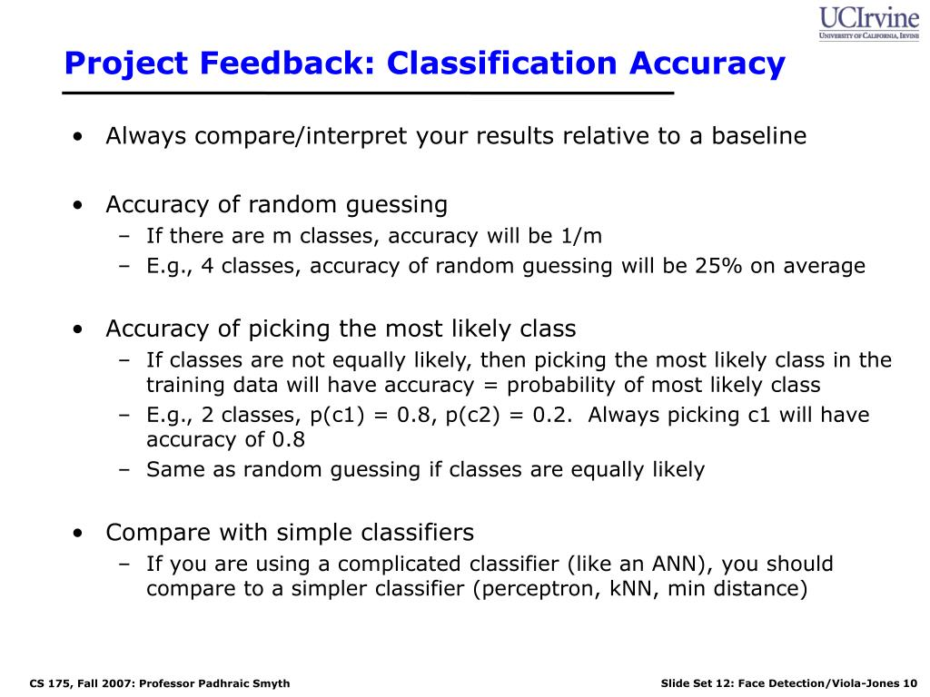 Project Feedback: Classification Accuracy