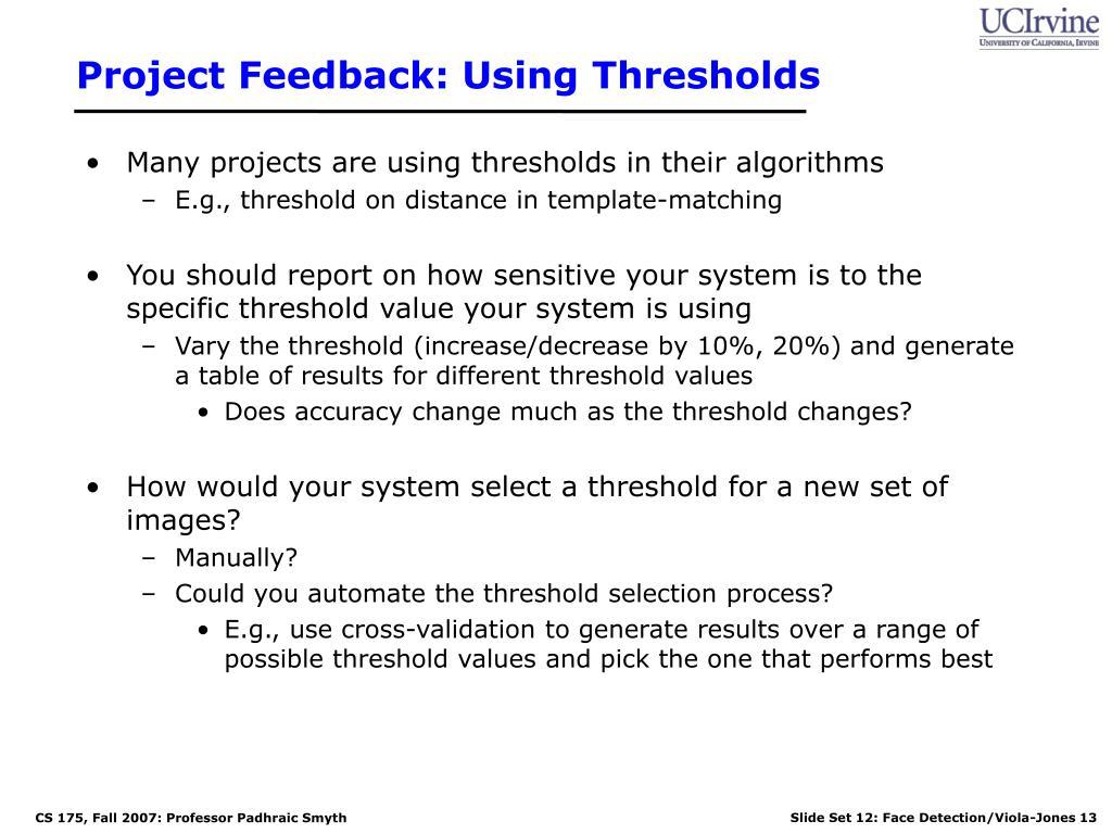 Project Feedback: Using Thresholds