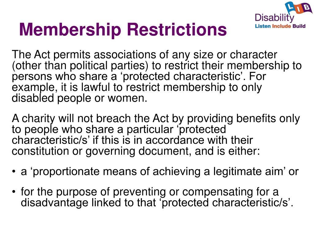 Membership Restrictions