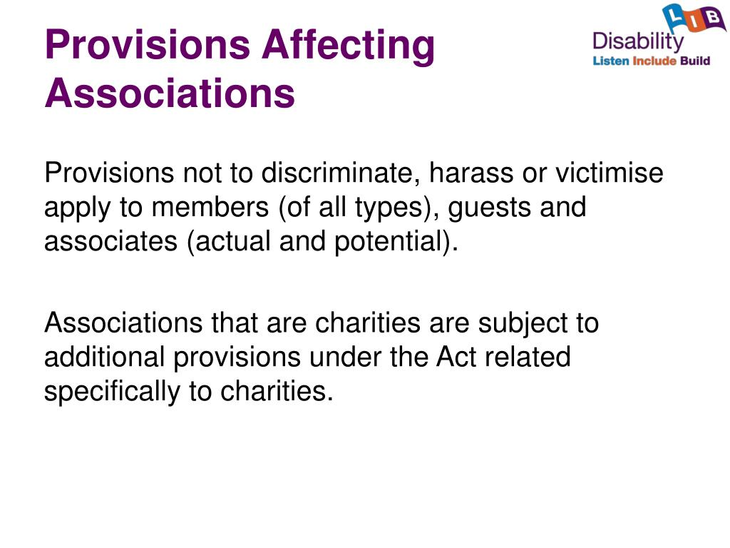 Provisions Affecting Associations