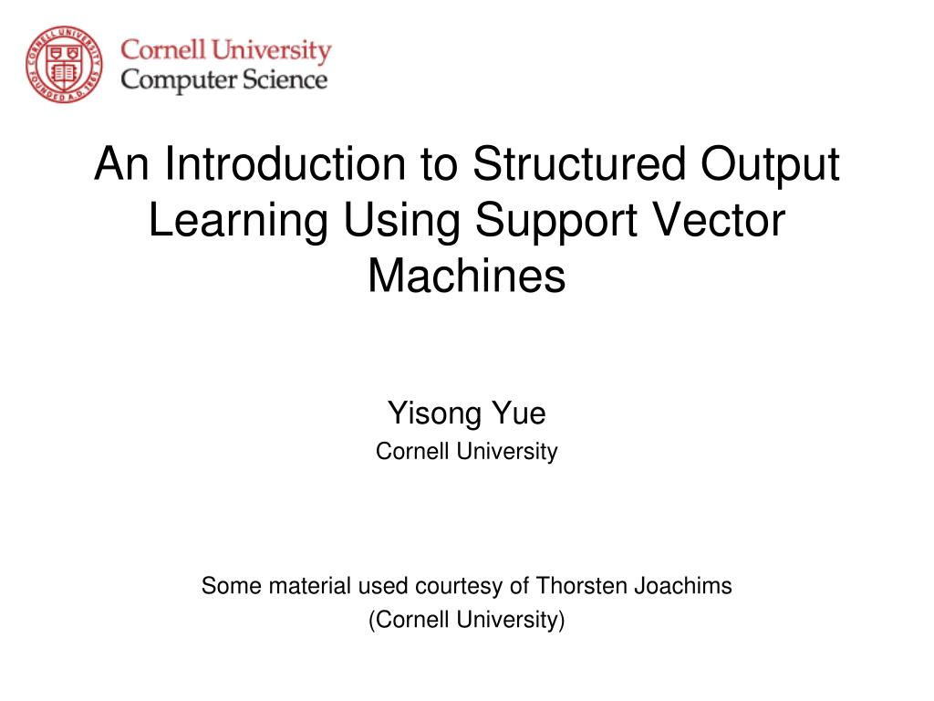 an introduction to structured output learning using support vector machines l.