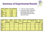 summary of experimental results