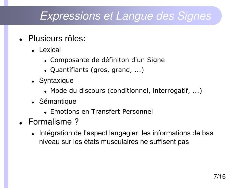 Expressions et Langue des Signes