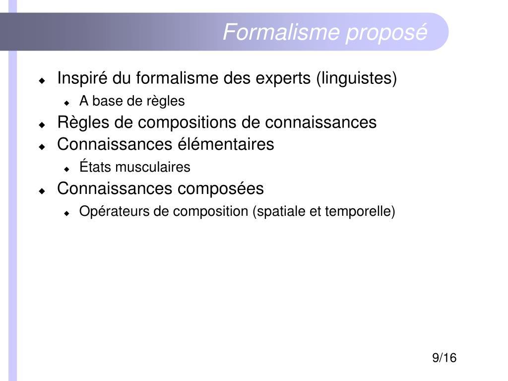 Formalisme proposé