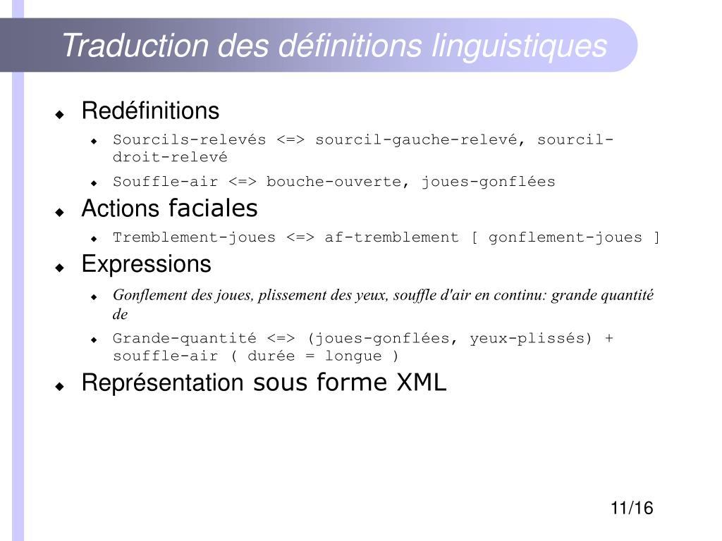 Traduction des définitions linguistiques