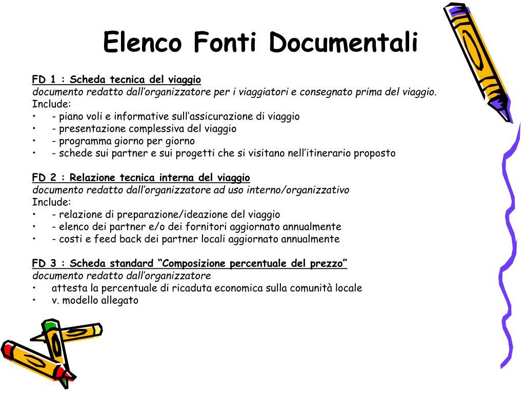 Elenco Fonti Documentali