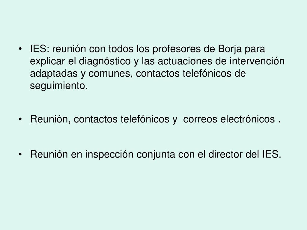 IES: reunión con todos los profesores de Borja para explicar el diagnóstico y las actuaciones de intervención adaptadas y comunes, contactos telefónicos de seguimiento.