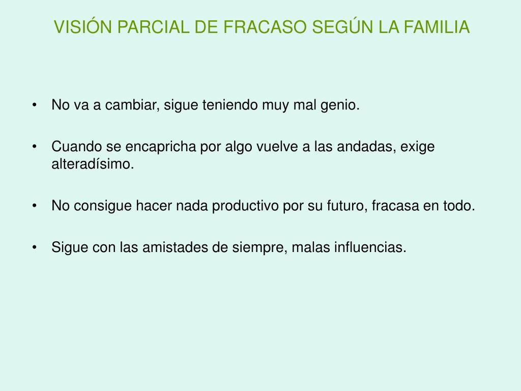 VISIÓN PARCIAL DE FRACASO SEGÚN LA FAMILIA