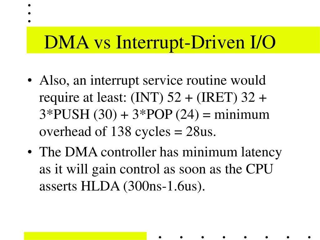 DMA vs Interrupt-Driven I/O