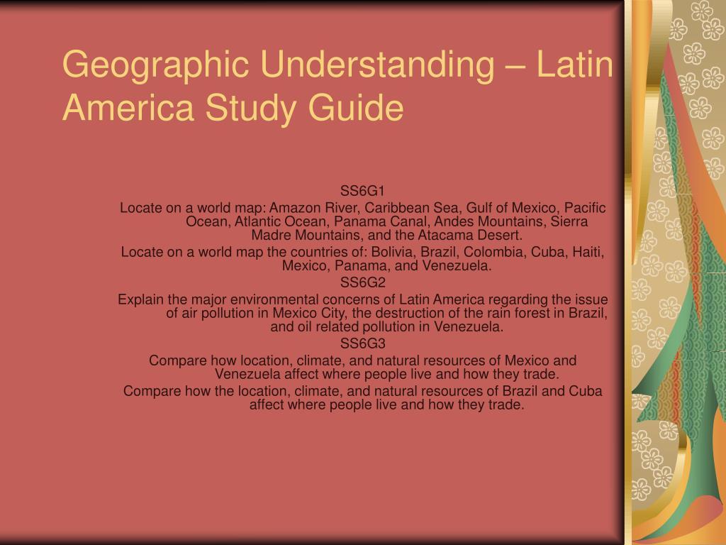 geographic understanding latin america study guide