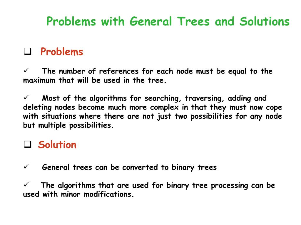 Problems with General Trees and Solutions