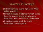 fraternity or sorority