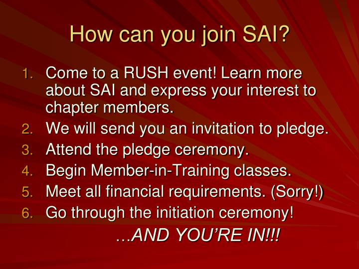 How can you join SAI?