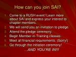 how can you join sai