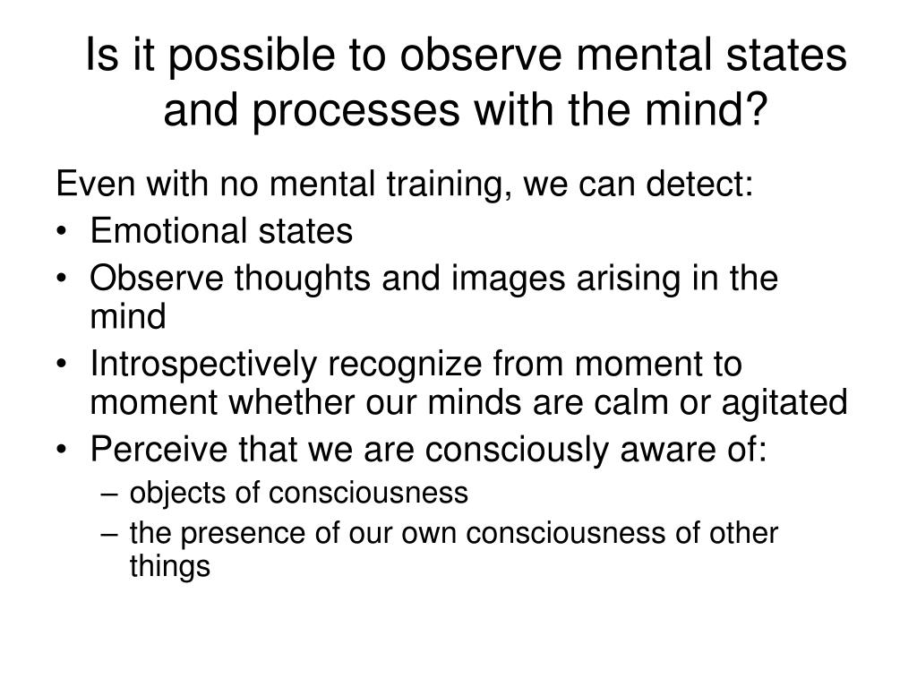 Is it possible to observe mental states and processes with the mind?