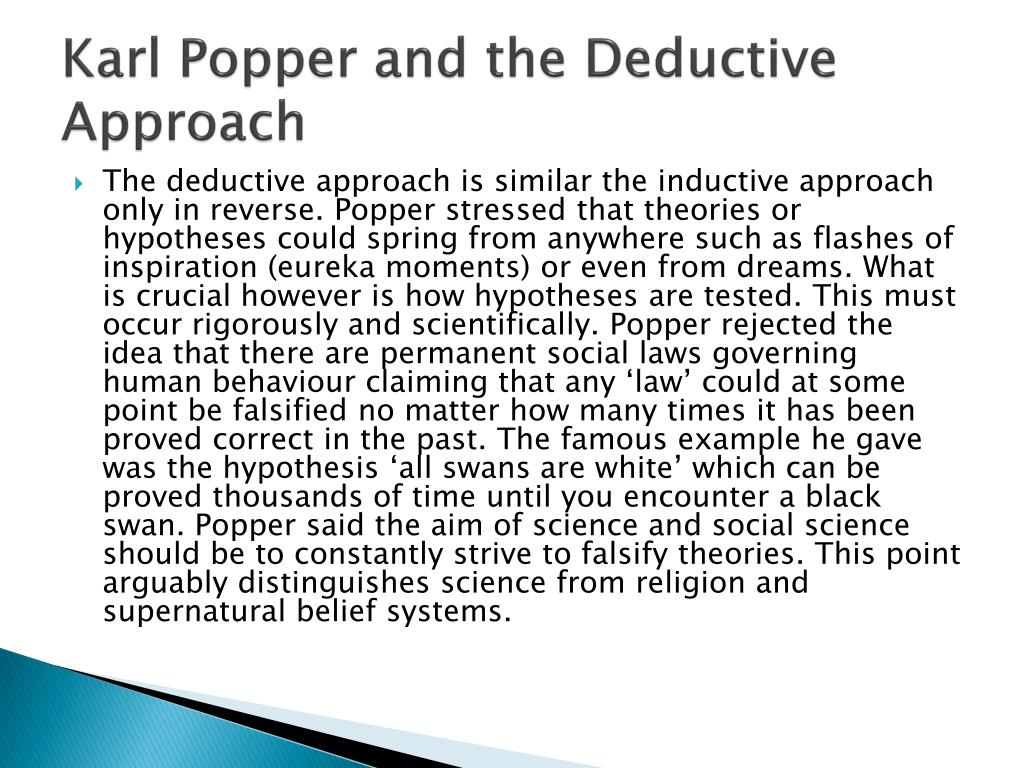 Karl Popper and the Deductive Approach