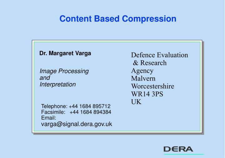 Content based compression