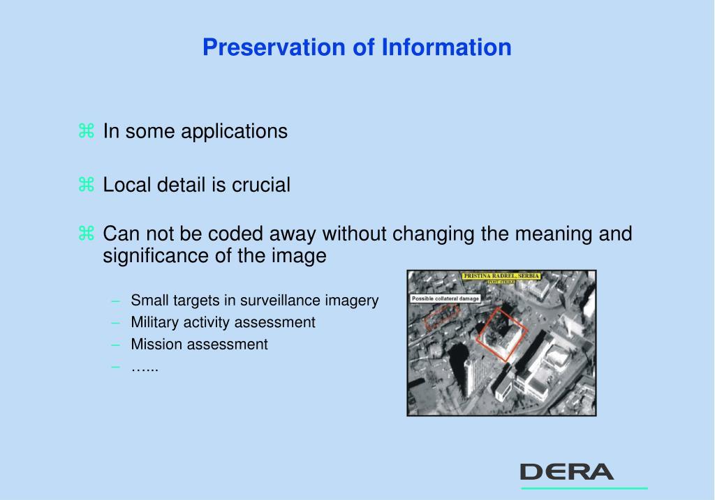 Preservation of Information