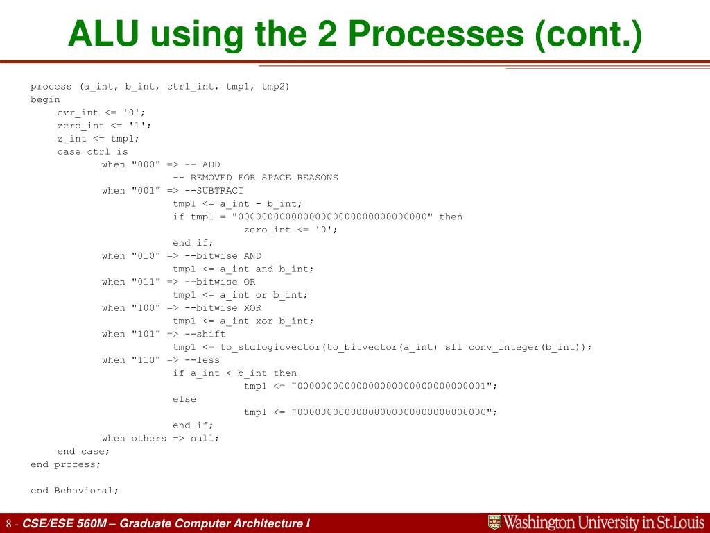 ALU using the 2 Processes (cont.)