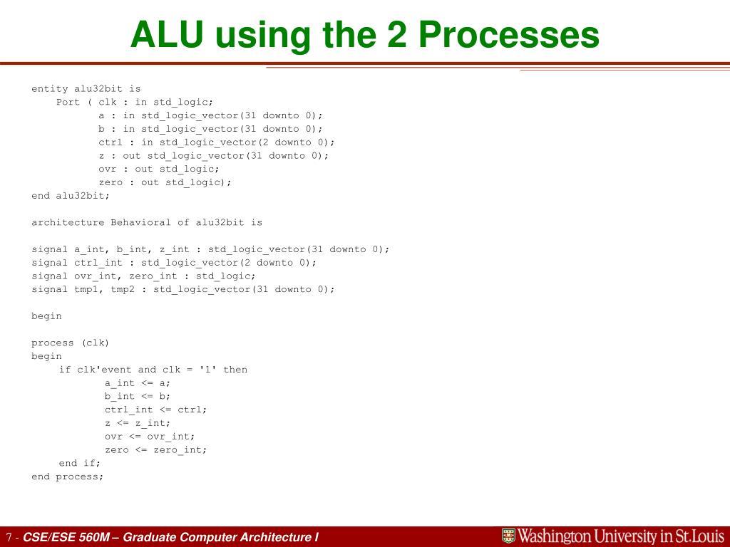 ALU using the 2 Processes