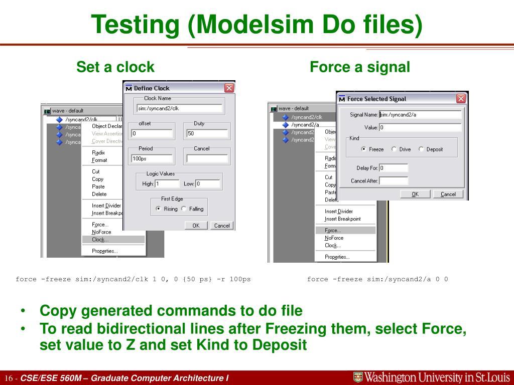 Testing (Modelsim Do files)