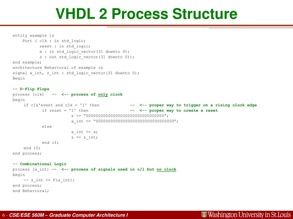 VHDL 2 Process Structure