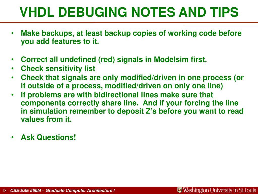 VHDL DEBUGING NOTES AND TIPS