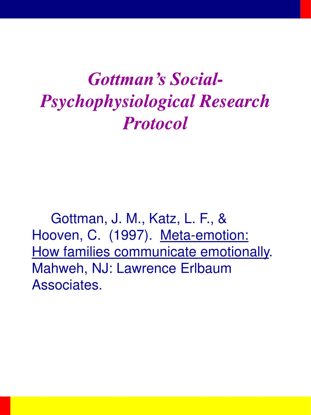 Gottman's Social-Psychophysiological Research Protocol