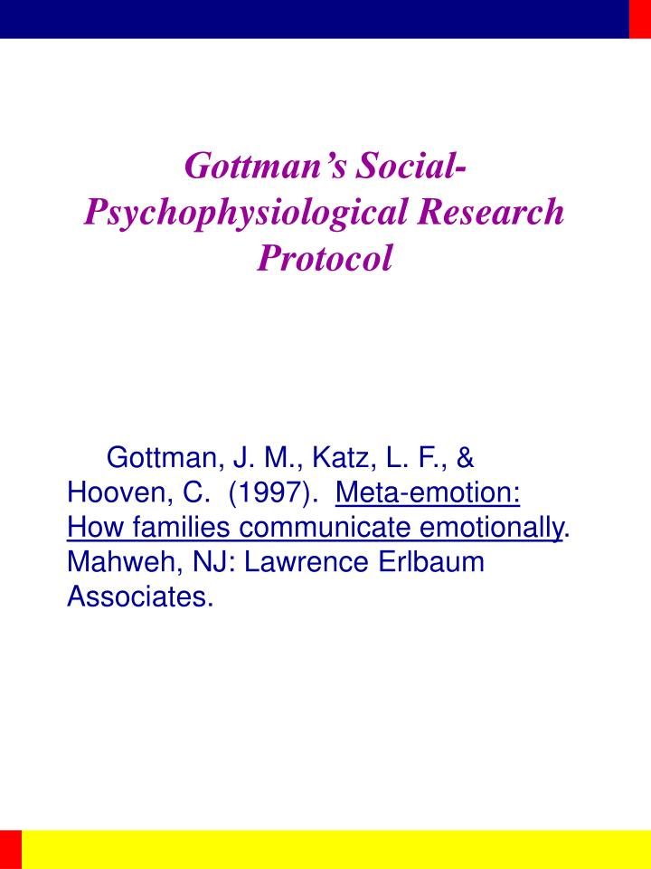 Gottman s social psychophysiological research protocol