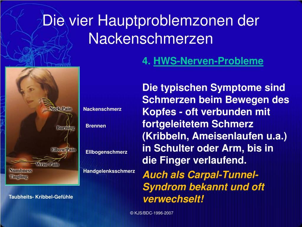 Die vier Hauptproblemzonen der Nackenschmerzen