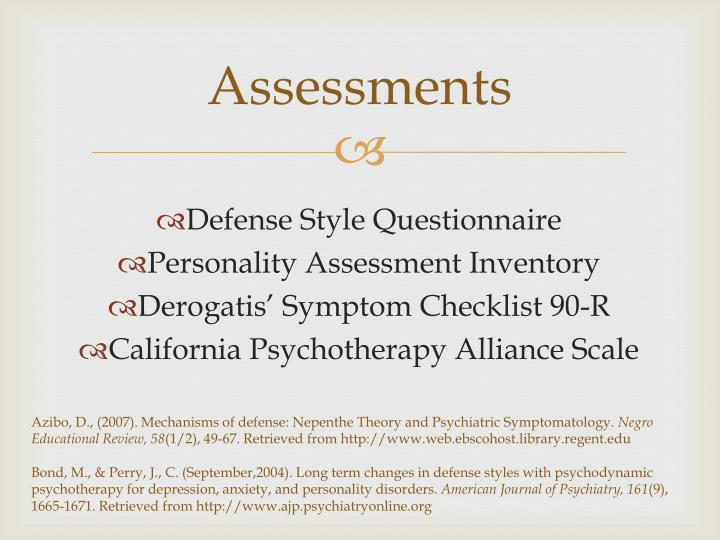 pshchoanalytic personality assessment Psychodynamic assessment assessing the specific aspects of personality can be as controversial and complex as the theories themselves because the majority of our our actions are dictated by the unconscious, a bigger struggle was faced by psychoanalytic and psychodynamic theorists: how to find out what even the patient himself doesn't.