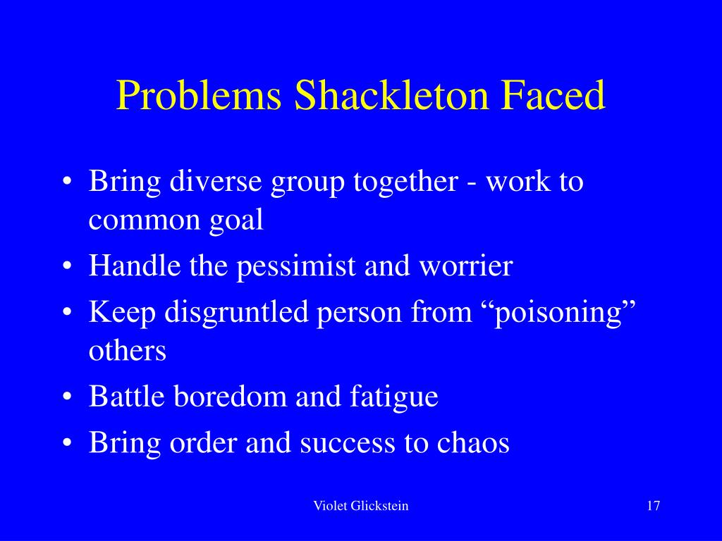 Problems Shackleton Faced