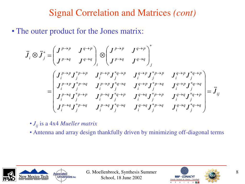 Signal Correlation and Matrices