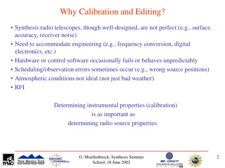 Why calibration and editing