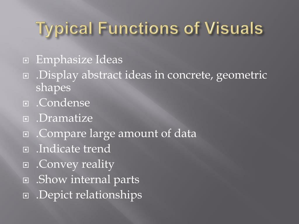typical functions of visuals l.