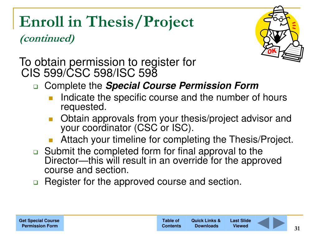 Enroll in Thesis/Project