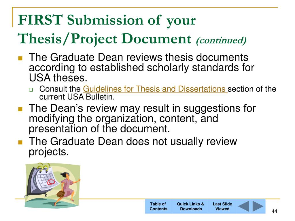 FIRST Submission of your Thesis/Project Document